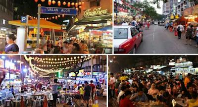 Wisata kuliner jalan Alor bukit bintang Kuala lumpur malaysia