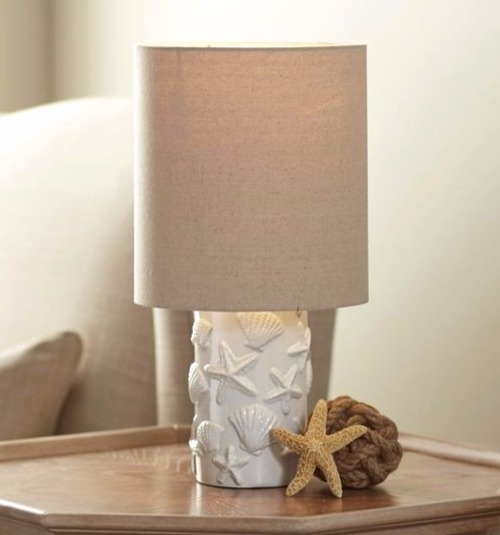 White Coastal Seashell Table Lamp
