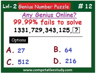 Math Puzzle: Find the missing number if: 1331, 729, 343, 125,  ?