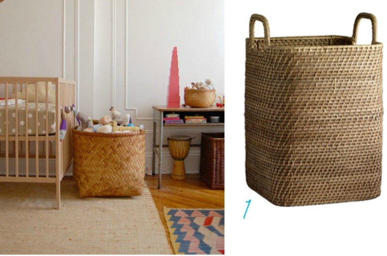Coastal kids room with stylish wicker baskets as storage
