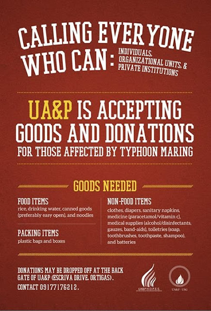 Poster of the University of Asia and the Pacific for relief effort for the victims of Habagat floods
