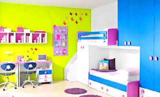 Cara menghias kamar tidur yang sempit menggunakan penambahan warna cerah pada kamar