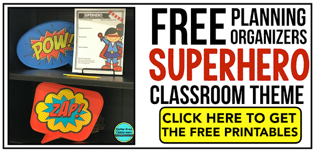 SUPERHERO Theme Classroom: If you're an elementary teacher who is thinking about a superheroes theme then this classroom decor blog post is for you. It'll make decorating for back to school fun and easy. It's full of photos, tips, ideas, and free printables to plan and organize how you will set up your classroom and decorate your bulletin boards for the first day of school and beyond.