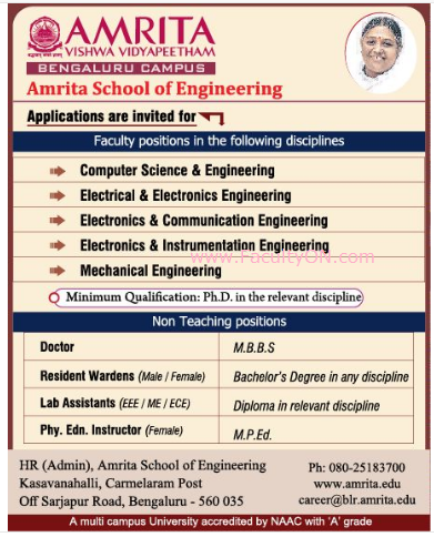 Amrita School of Engineering, Bangalore, Wanted Faculty Plus Non