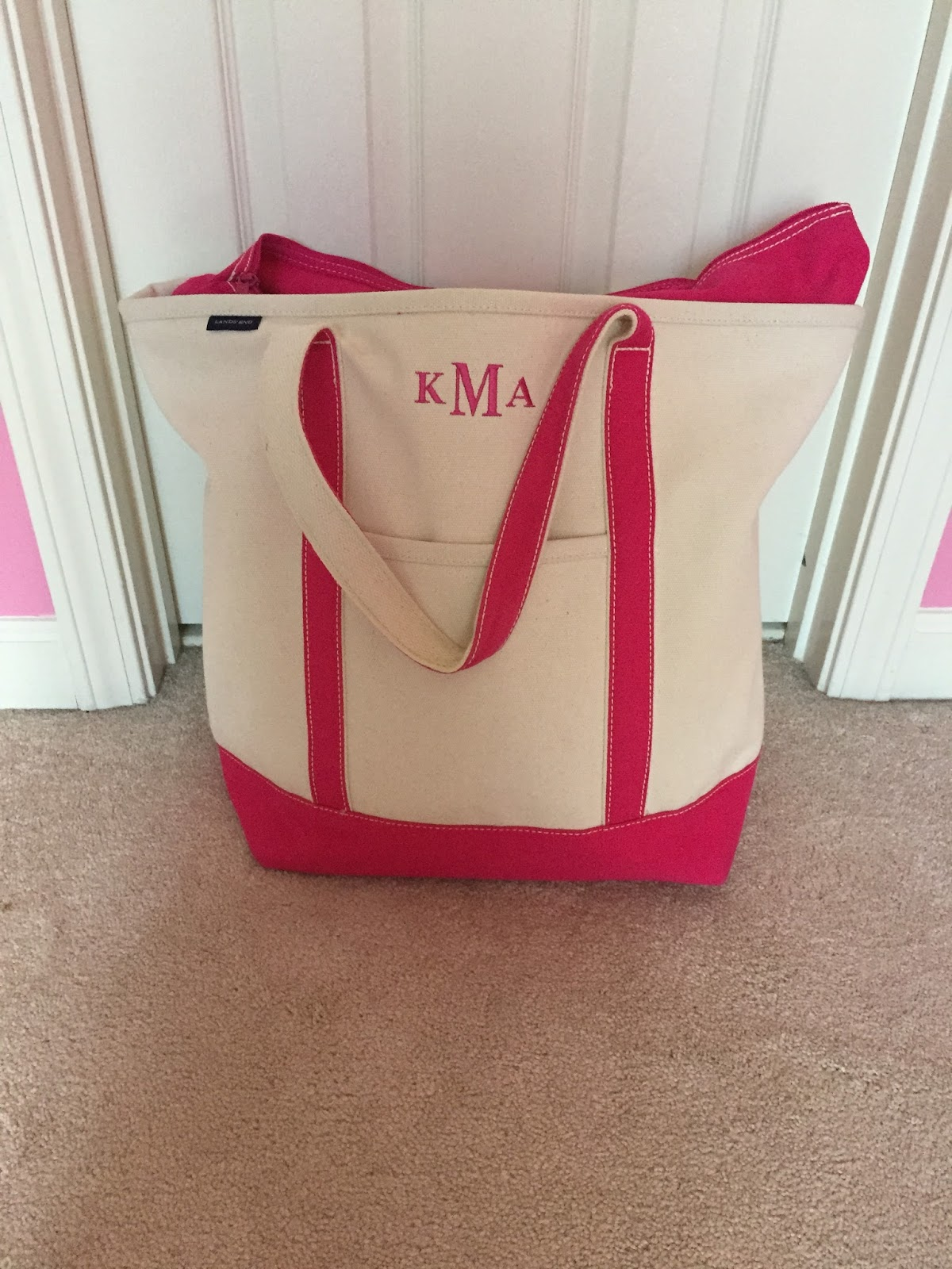 I Use The Land S End Large Tote With A Monogram And Love It Since Is So Can Hold Everything Also Has Lot Of Pockets Which