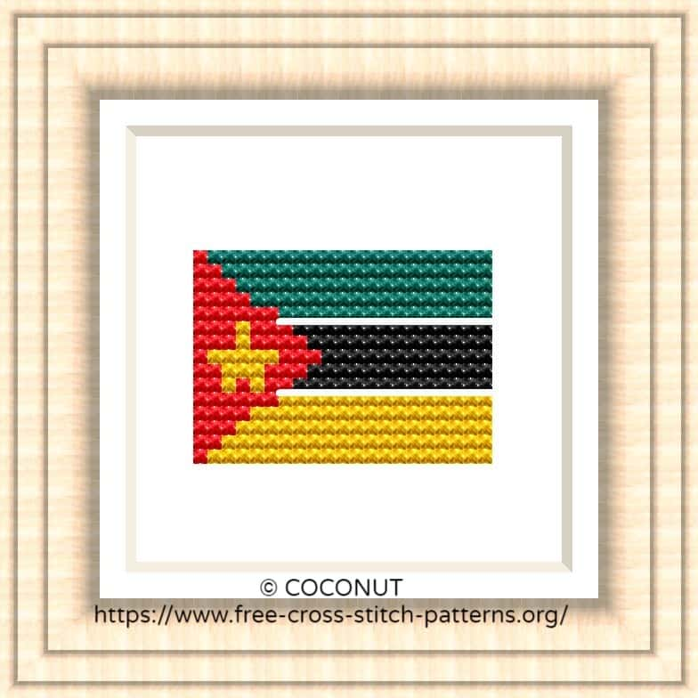 NATIONAL FLAG OF MOZAMBIQUE CROSS STITCH CHART
