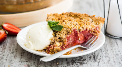 Cake item recipe, Cake recipes, Cake with rhubarb and strawberry,