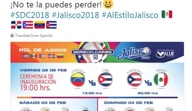 El partido inicial será entre Venezuela y Cuba, el viernes, a las 2 de la tarde hora del Este de los Estados Unidos, mientras que la inauguración oficial será a segunda hora, con el choque entre los actuales campeones, los Criollos de Caguas y los anfitriones, los Tomateros de Culiacán