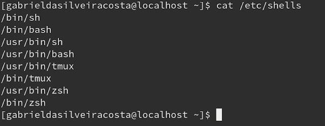 lista de terminais disponíveis no sistema operacional e que podem ser conferidos dentro de /etc/shells