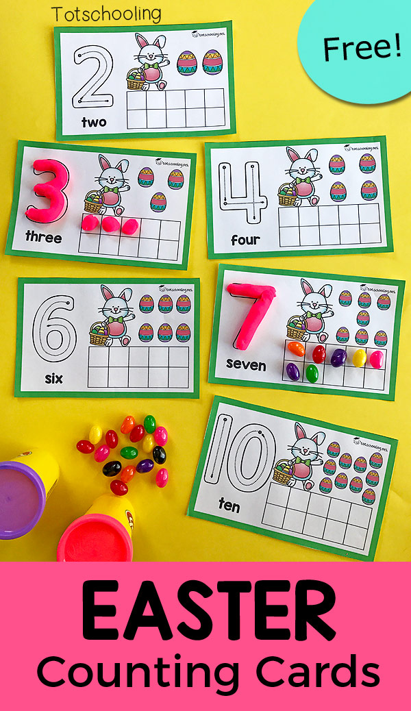 FREE counting cards with an Easter theme. Use playdough or candy such as jelly beans to fill in the ten frames and trace the number on each card. Great Easter math activity for preschool!