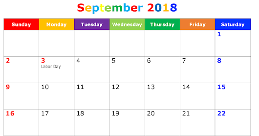 September 2018 Printable Calendar Template PDF, Excel, Word