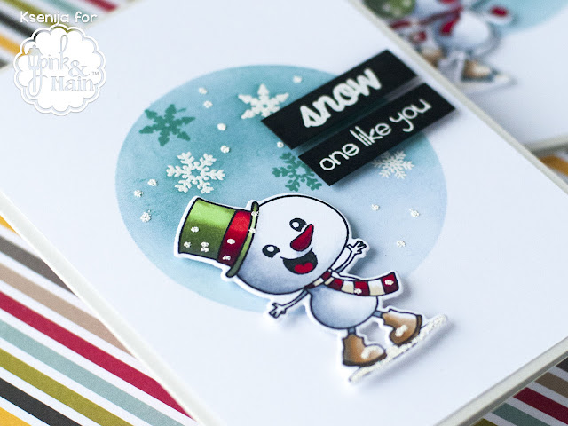 Heat Embossed Christmas Cards with Pink and Main Snow Sweet stamps