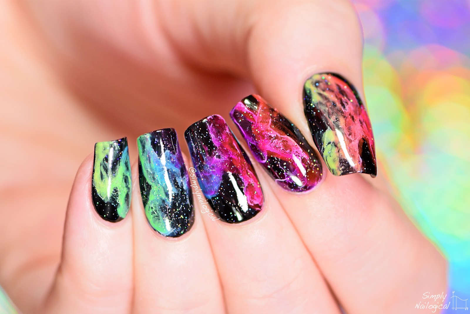 Simply Nailogical: Rainbow smoke nails | Mani swap with Elleandish!