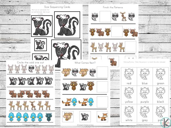 Kindergarten Forest Animals Printables