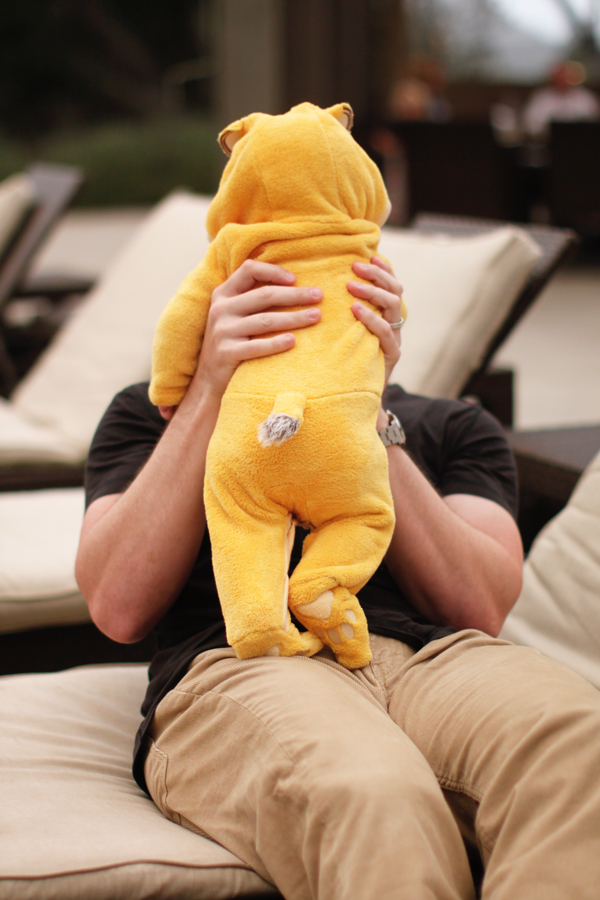 Baby in a Simba suit