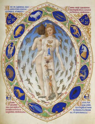 L'Homme anatomique, ou Homme zodiacal, enluminure réalisée par les Frères de Limbourg