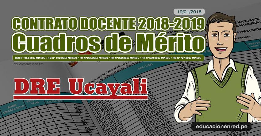 DRE Ucayali: Cuadros de Mérito Contrato Docente 2018 - 2019 (.PDF) www.dreucayali.gob.pe