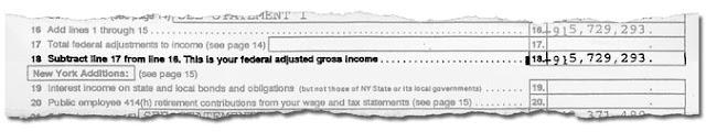 Línea de una de las declaraciones de impuestos de 1995. Imagen: The New York Times.