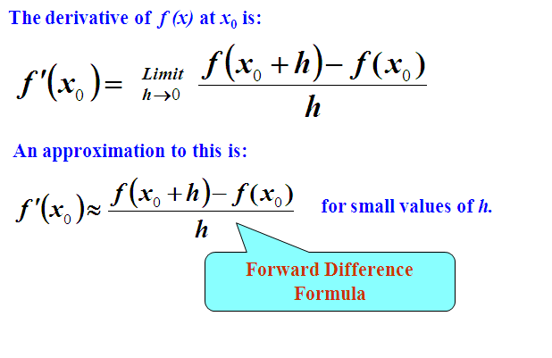 NUMERICAL  DIFFERENTIATION,forward difference formula ,Three point formula,