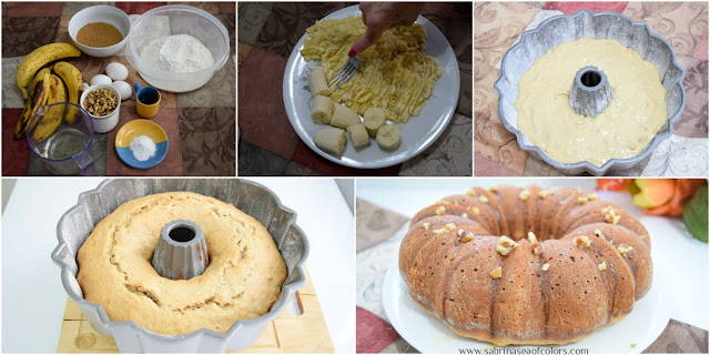 Bundt cake de banana y nueces