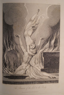"An illustration of a partially draped figure kneeling with his arms in the air as a floating woman embraces him about the neck. They are surrounded by flames. The caption reads ""The reunion of the soul & the body."""