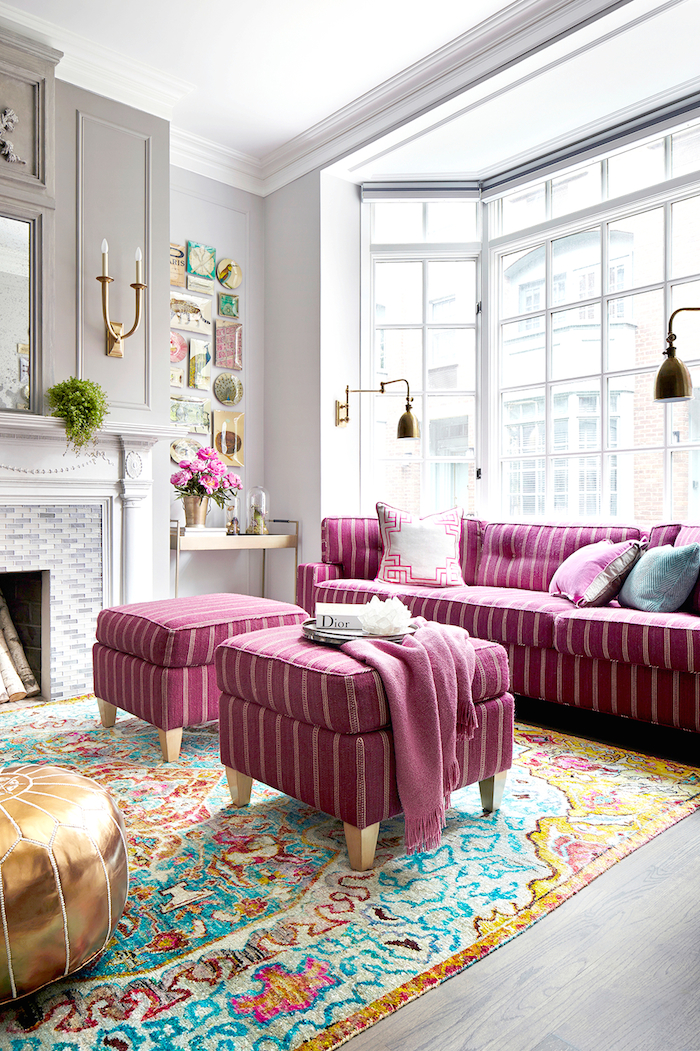 Exquisite living room with Pink Striped Sofa