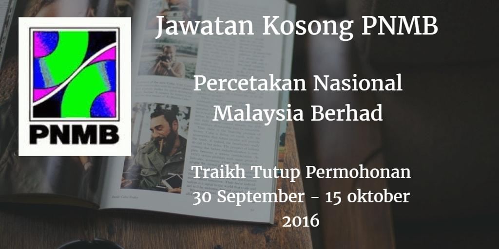 Jawatan Kosong PNMB 30 September - 15 Oktober 2016