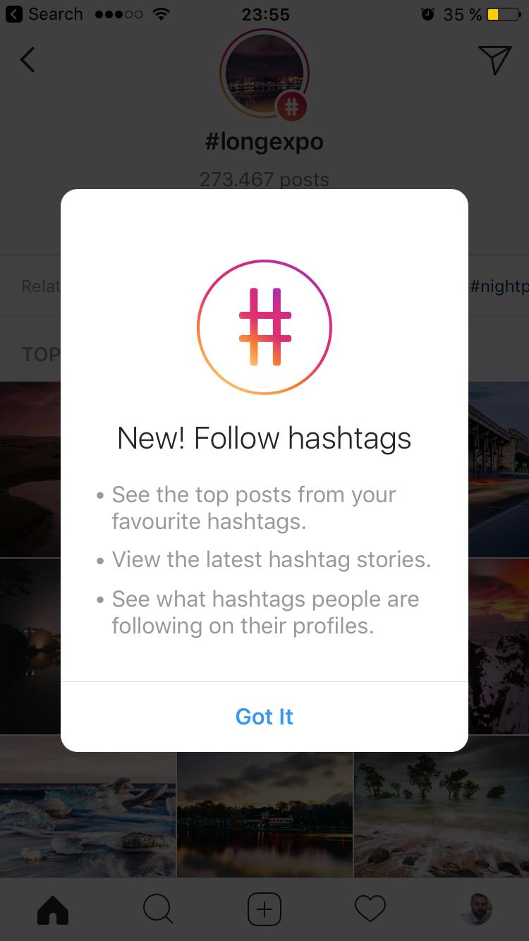 Follow hashtags on Instagram for iOS