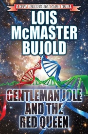 Cover of Gentleman Jole and the Red Queen, featuring strands of blue, green, and red DNA twining together into a triangle against a starry background.