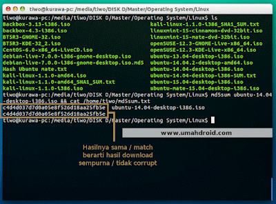 Mengecek hasil download corrupt atau tidak lewat terminal linux