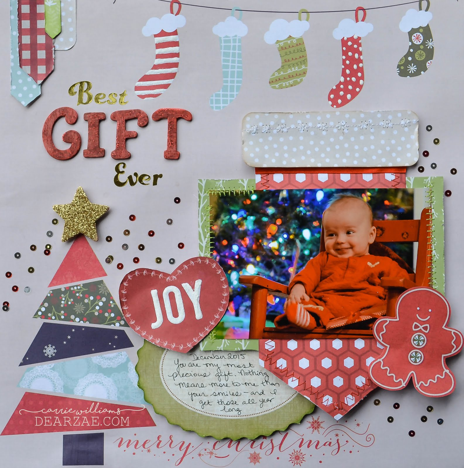 Christmas holiday scrapbook layout in red, green, and cream with stockings, wood alphas, and gold stickers, journal card, sequins, chipboard star, fussy cut heart and gingerbread man