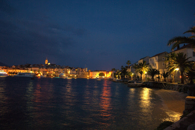 Island of Corchula at night. Croatia
