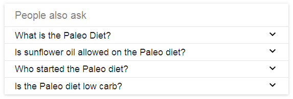 "screen shot of Google serp for ""paleo"""