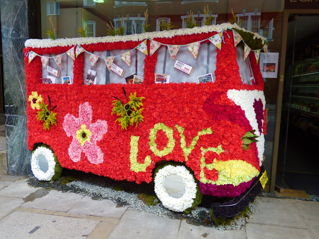 Floral camper van in London, for Chelsea in Bloom 2018 free flower festival