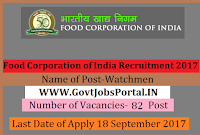Food Corporation of India Recruitment 2017– 82 Watchmen
