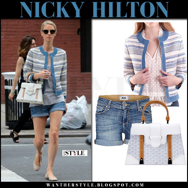 Nicky Hilton in blue printed jacket and denim shorts what she wore june 21 2017