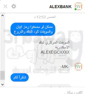 ابيان وسويفت كود بنك الإسكندرية  فى مصر