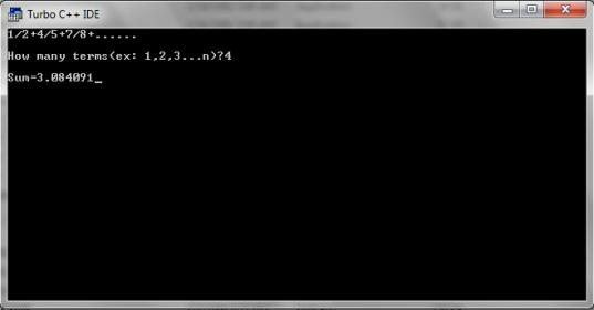 C program to find the sum of series 1/2+4/5+7/8+......