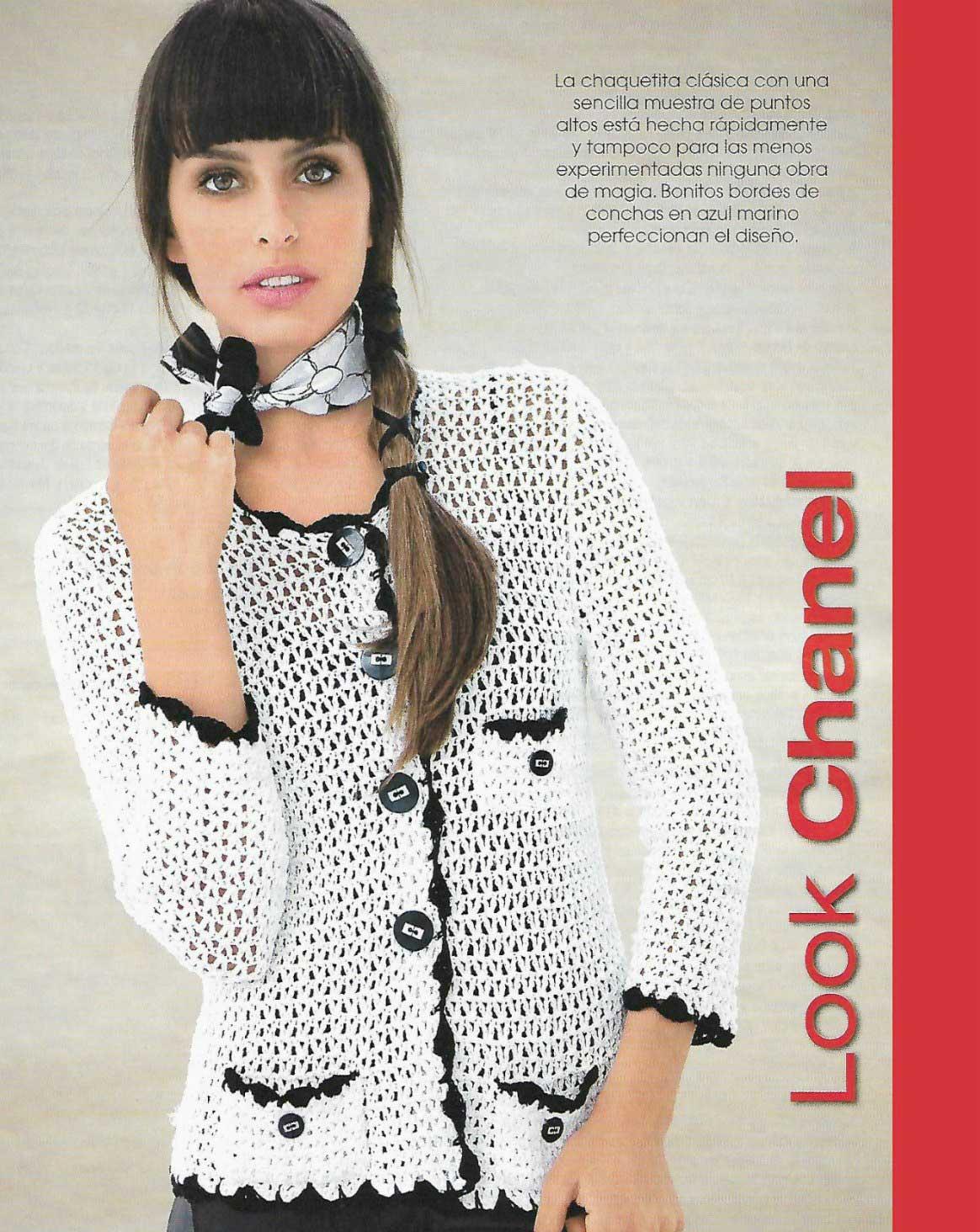 Chaqueta blanca con bordes de conchas look Chanel