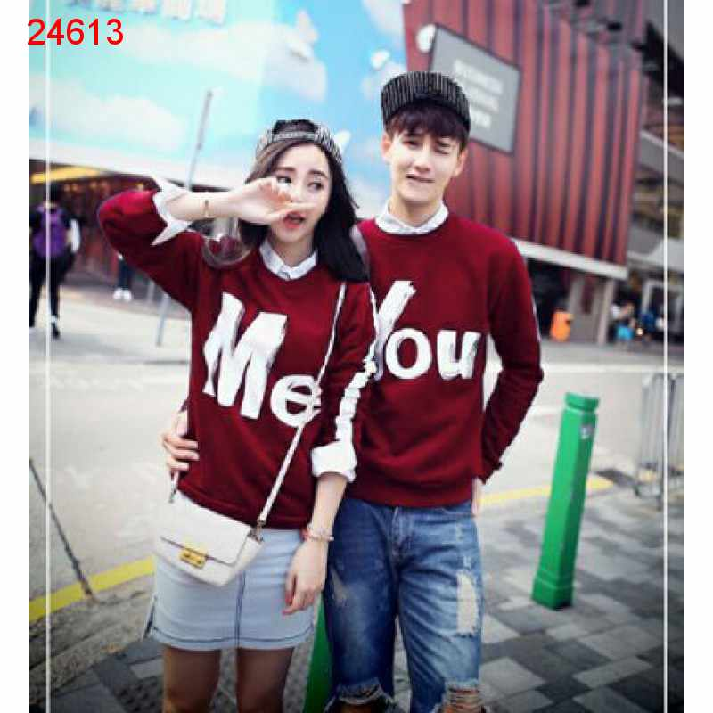 Jual Sweater Couple Sweater You Me Stripe Maroon - 24613