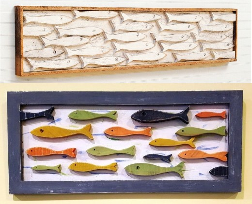 Handmade Wood School of Fish Wall Art Decor