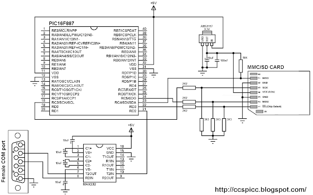 Interfacing PIC16F887 with SD card circuit