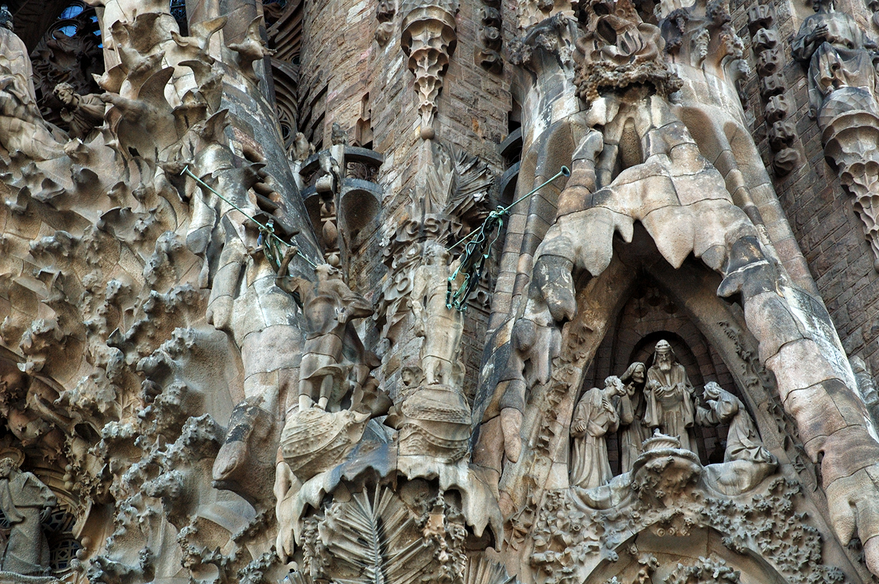 Wingless Angels with Trumpets - Nativity Façade Detail in Sagrada Familia