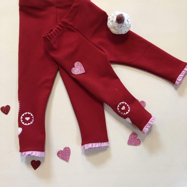 Simplicity 8706 Valentine leggings created with Pfaff Creative Icon Applique Creator