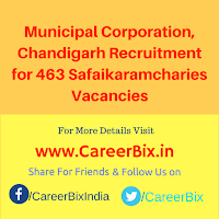 Municipal Corporation, Chandigarh Recruitment for 463 Safaikaramcharies Vacancies