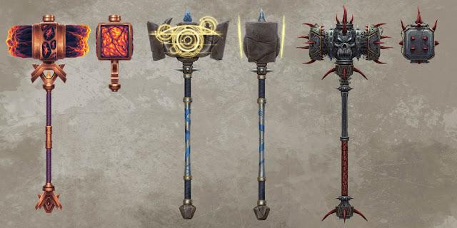 Martelos poderosos prontos para esmagarem as cabeças de seus inimigos!