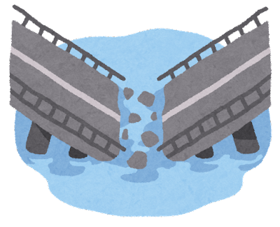 崩壊した橋のイラスト