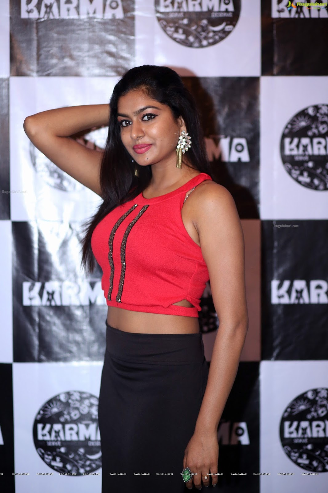 Sai Akshatha in red dress beautiful arm pits