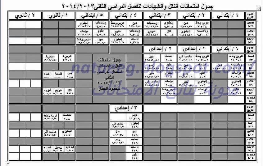 جدول امتحانات الشهاده الابتدئيه والاعداديه 2014 الترم الثانى - محافظة الدقهليه