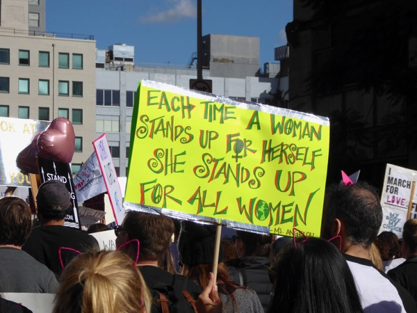 Womens March LA each time a woman stands up for herself sign